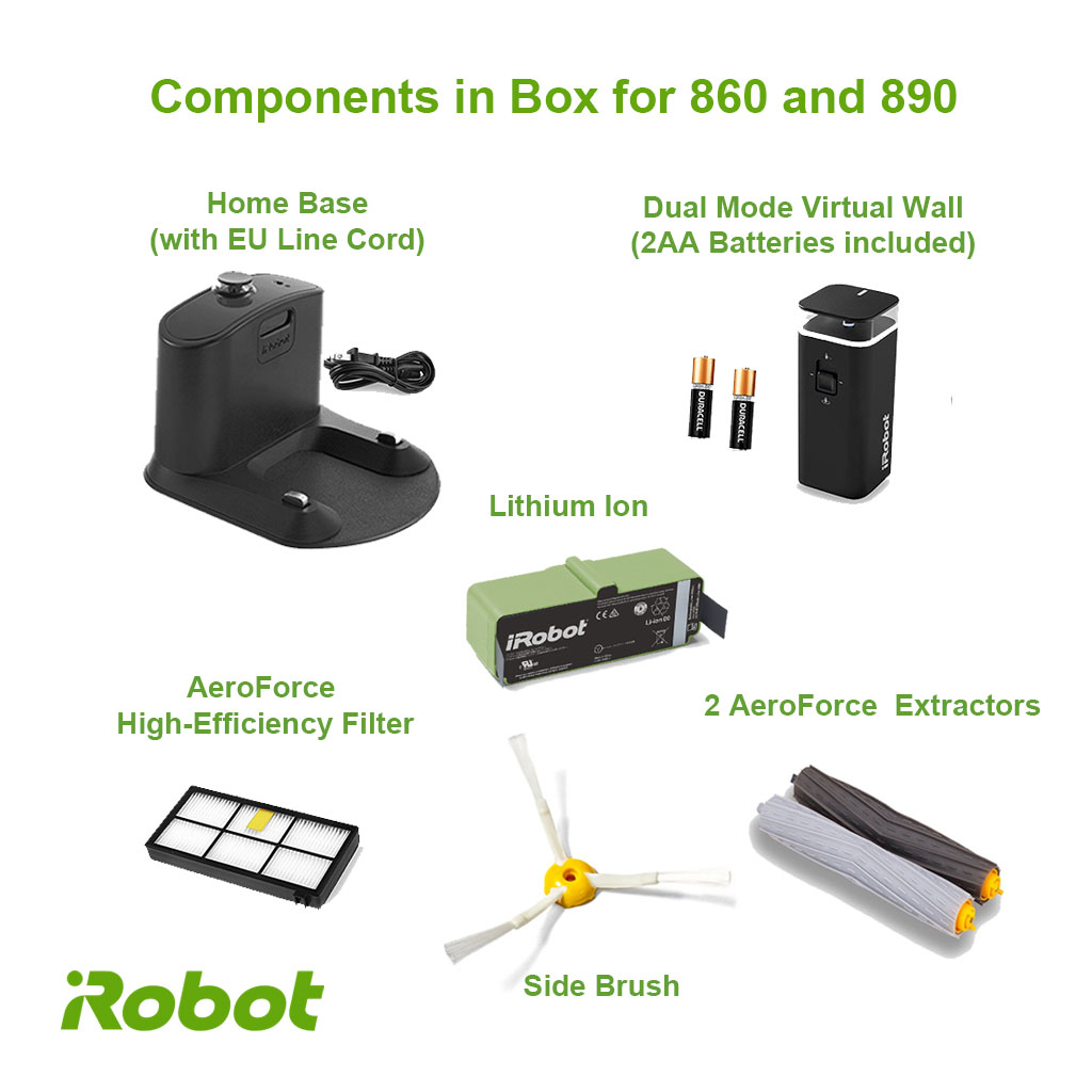 roomba 860 and 890 components in box