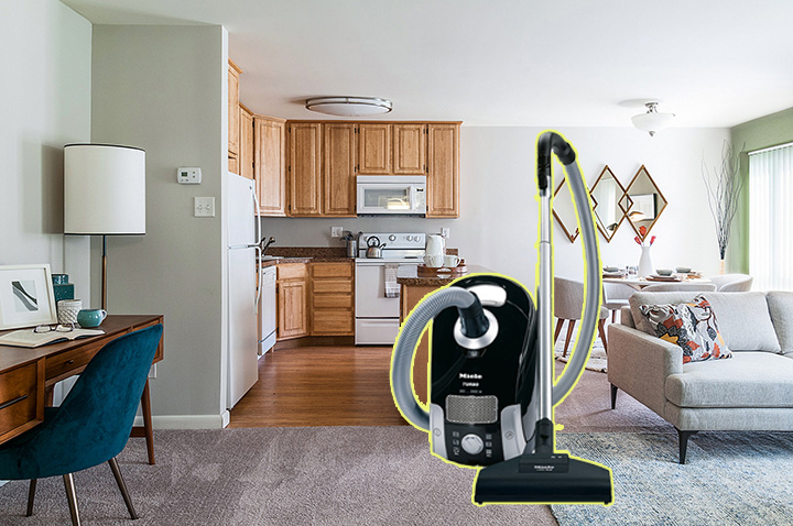 vacuuming apartment Living room